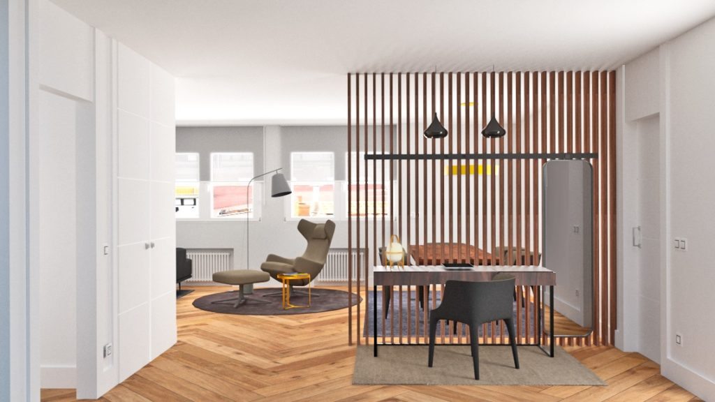 Arquitectura de interiores, reforma de piso en Gijón, nueva distribución, decoración, obra e interiorismo