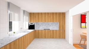 Proyecto de diseño y reforma de una cocina en un piso en Gijón