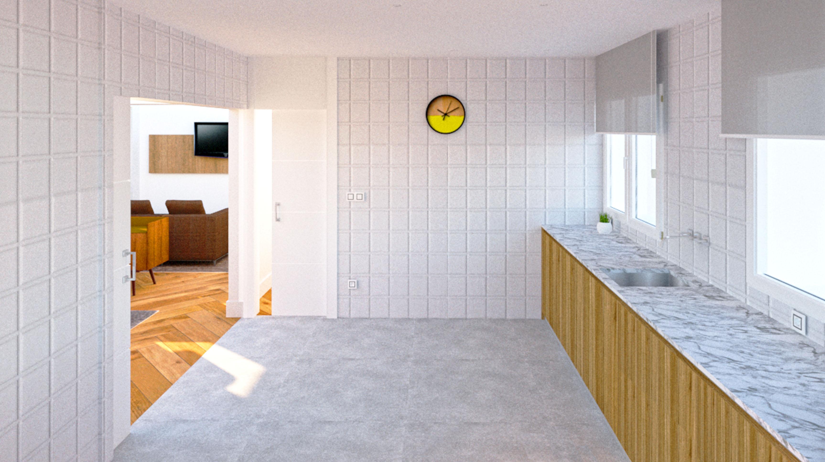 Diseño de la cocina para el proyecto de reforma de un piso en Gijón
