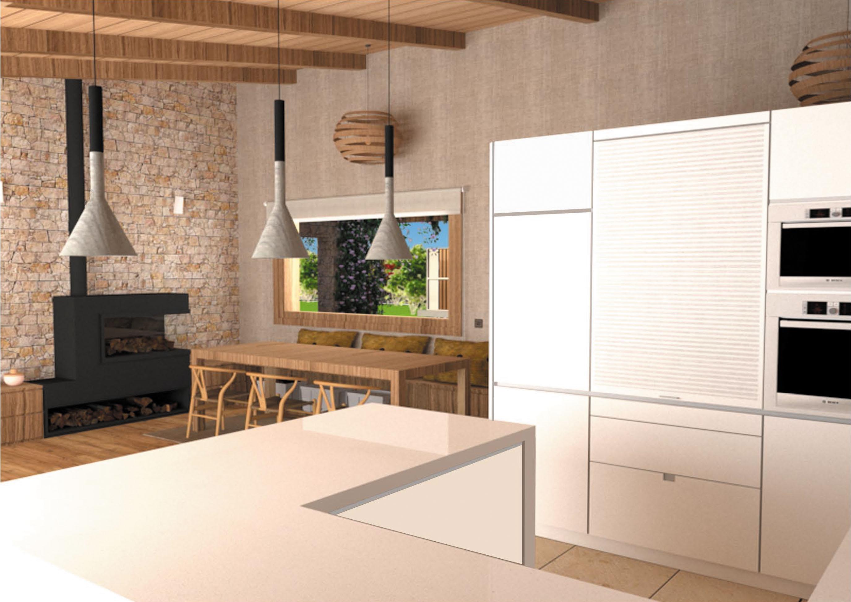Obra nueva cocina y salón para una vivienda unifamiliar en Gijón