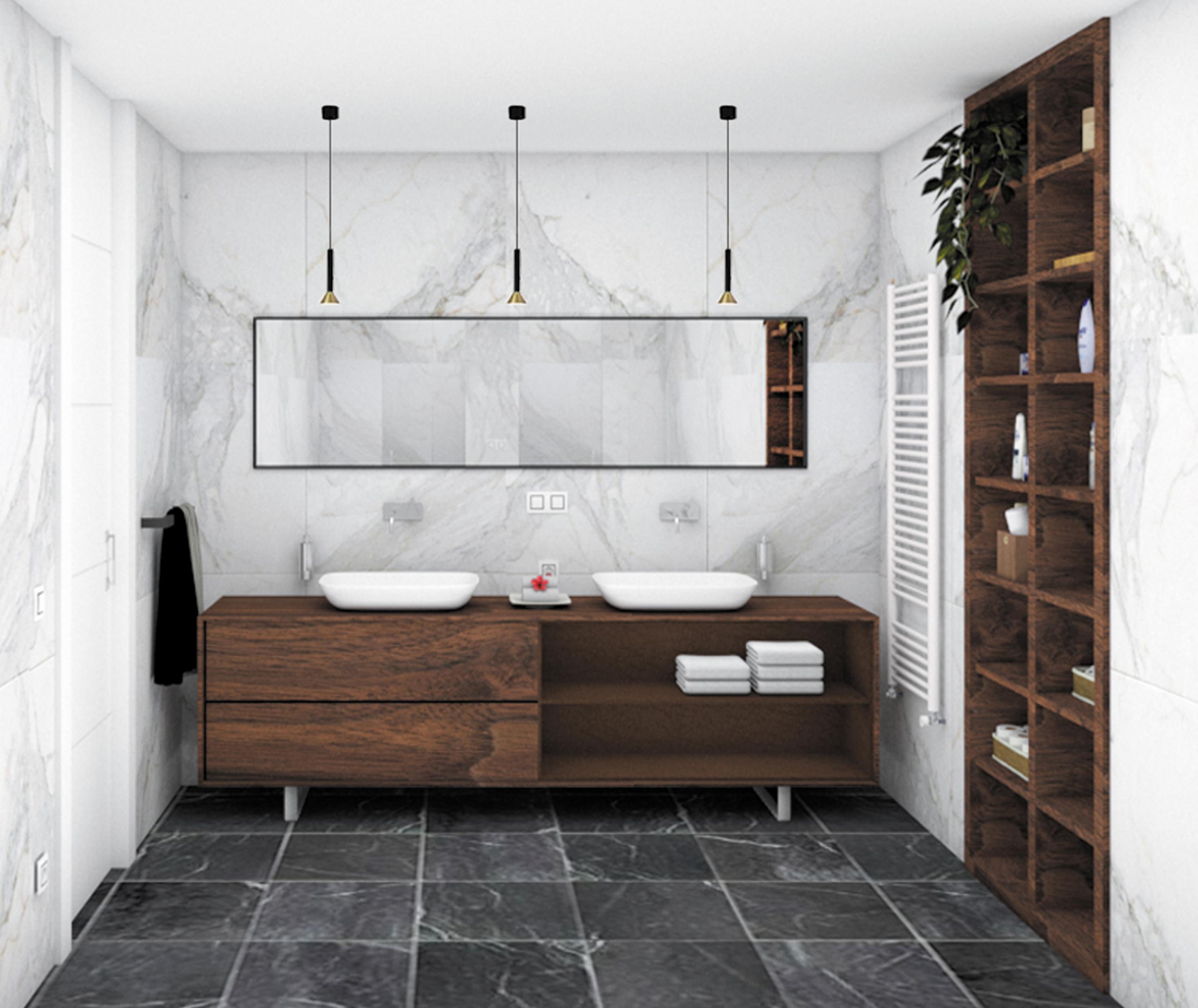 Diseño para el proyecto de reforma del baño, zona lavabos, de un piso en Gijón