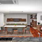 Vista general de la cocina, comedor, salon zona TV y biblioteca