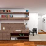Biblioteca y pasillo a las habitaciones al fondo