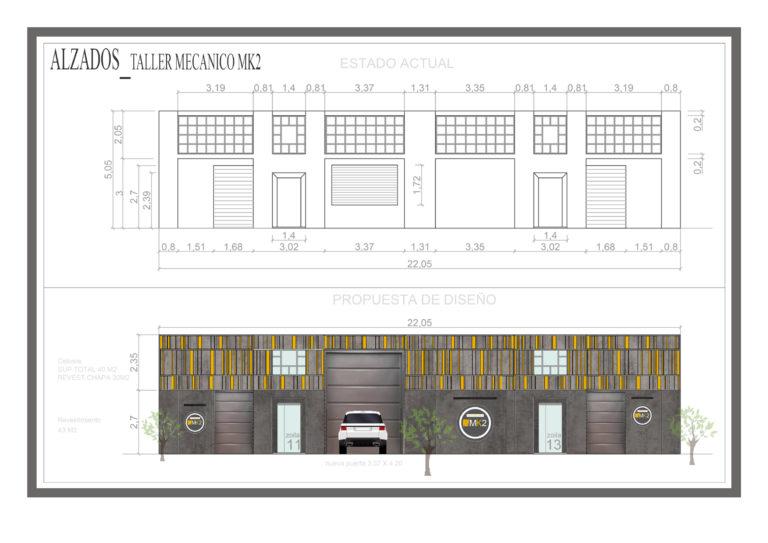 Diseño de fachada de un taller mecánico, alzados