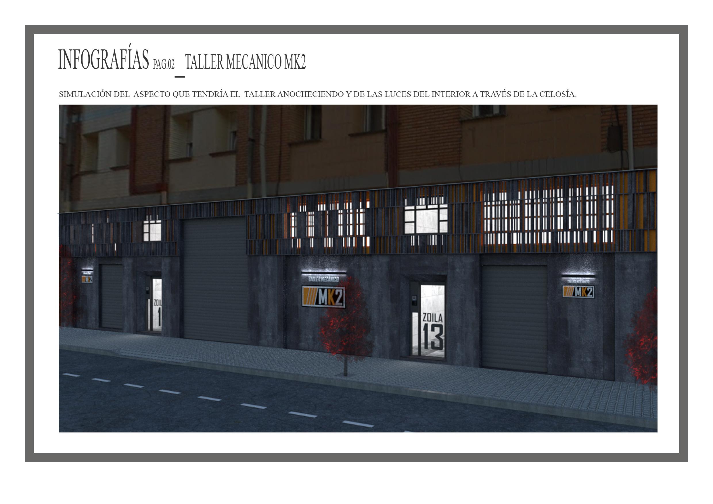 Diseño de fachada de un taller mecánico, infografía con iluminación