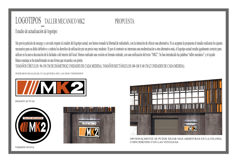 Diseño de fachada de un taller mecánico, logos