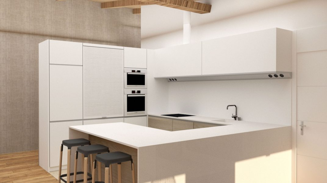 Proyecto del diseño de la cocina de una vivienda unifamiliar en Gijón. Infografía.