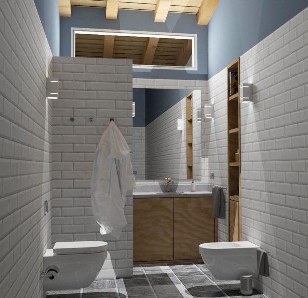 Proyecto de diseño del baño de una vivienda unifamiliar en Gijón. Infografïa